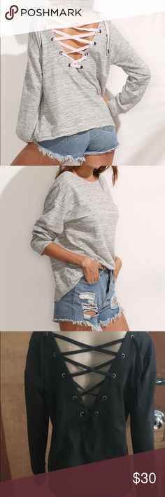 Lace up light sweater shirt Cotton Sweaters Crew & Scoop Necks