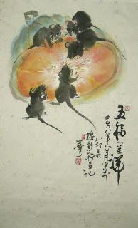Simon Chan's Art: Year of Rat 2008 Chinese Brush, Chinese Art, Japanese Painting, Chinese Painting, Black Rat, Pet Mice, Asian Love, Animal Portraits, Gerbil