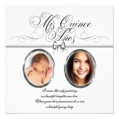 Silver Black and White Photo Quinceanera Personalized Announcement