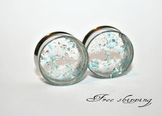 Crystal and blue - Stainless steel gauges - Ears plugs - Flesh tunnel - Double flare -Free shipping for US and Canada (v40 on Etsy, $18.00