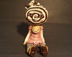 OOAK Custom Sculpture ,  Chocolate roll  Fantasy Art Doll