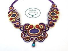 "Soutache Necklace ""Crocus"""