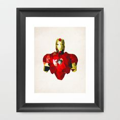 Now if I could get all of the Avengers! Polygon Heroes - Iron Man Framed Art Print by TheBlackeningCo - $37.00