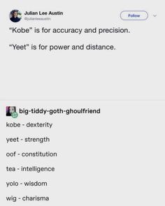 Vsco girl sayings as DnD stats : dndmemes Dnd Funny, Haha Funny, Funny Memes, Hilarious, Jokes, Funny Stuff, Girl Sayings, Girl Quotes, Dnd Stats