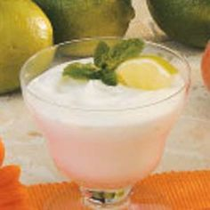 """Simple Lime Mousse is the perfect pairing of zesty lime and fluffy whipped cream. """"It's light and refreshing, especially after a meal that's left your taste buds tingling,"""" assures field editor Shirley Glaab of Hattiesburg, Mississippi. Lime Mousse Recipes, Lime Recipes, Finger Desserts, Just Desserts, Dessert Dishes, Dessert Recipes, Lime Sorbet, Lime And Basil, Desert Recipes"""