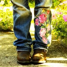 Use vintage sheets to embellish your jeans.