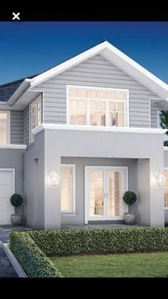 Grey render, white trims, white roller door hamptons house, hamptons style homes, House Exterior Color Schemes, White Exterior Houses, Exterior Paint Colors For House, Grey Houses, Exterior Colors, Grey Homes Exterior, Weatherboard Exterior, Exterior Cladding, House Cladding