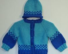 Winter is Coming - Baby Ski Sweater Cardigan  Hand Knit  Size 6 - 12 Months for Boy Girl Easy Care