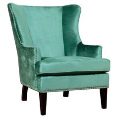 Soho Turquoise Velvet Wing Chair - Overstock™ Shopping - Great Deals on Living Room Chairs