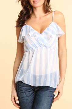 JD Fashion Spaghetti Strap Stripe Top in Blue And White - Beyond the Rack #contest #repintowin