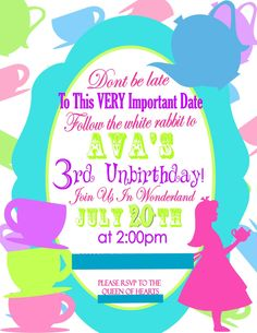 Alice in wonderland birthday invites