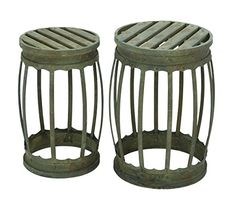 Deco 79 Barrel Shaped Metal Stool with Greenish Finish, Set of 2