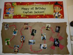 Jake and the neverland pirates picture treasure map.  Used monthly pics taken to Jackson's 1st Birthday.