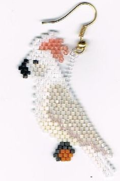 Hand Beaded Salmon Crested Umbrella Cockatoo Bird by beadfairy1