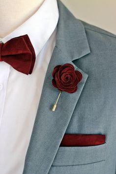 Leather burgundy rose flower pin burgundy groomsmens