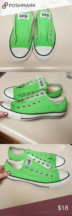 Neon Green Converse Hardly worn neon green Converse. Missing the shoe laces I don't know what happened to them I'm sorry! Women's 9, men's 7. I took pics of the Imperfections. Willing to hear offers! Converse Shoes Sneakers
