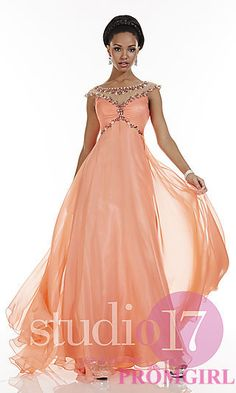 Long High Neck Dress with Cap Sleeves by Studio 17 at PromGirl.com