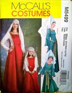 McCall's Sewing Pattern M5499 Misses' Girls' Medieval Princess Dresses Gowns Hat…