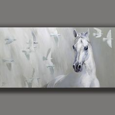 HORSE and DOVES - ORIGINAL PAINTING Unique JOART Signed Handpainted #Realism