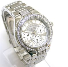 762de2499cc Guess Women Watch Crystals Multiple Dial Silver Face