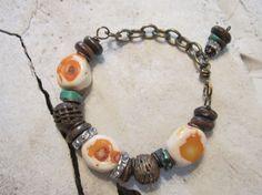 Beaded Bracelet Boho Jewelry Beaded Jewelry Coral by edanebeadwork, $25.00