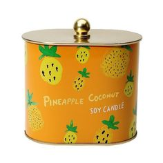 Fashionable Fruits Tin Candle Pineapple Coconut (15 AUD) ❤ liked on Polyvore featuring home, home decor, candles & candleholders, orange, orange candles, orange home decor, coconut oil candle, fruit home decor and coconut candle