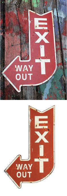 Add a kitschy modern twist to your space with this Metal Exit Sign. Place by your door for added fun.