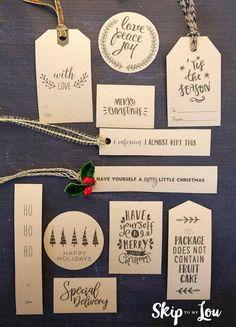 Diy Christmas Tags, Christmas Tags Printable, Free Printable Tags, Christmas Gift Wrapping, Christmas Present Tags, Diy Cadeau Noel, Christmas Information, Creative Gift Wrapping, Wrapping Gifts