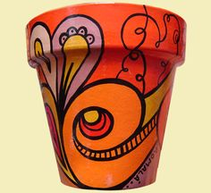 ROMALA: Macetas Pintadas Painted Plant Pots, Painted Flower Pots, Pottery Painting, Diy Painting, Handmade Flowers, Handmade Crafts, Decorated Flower Pots, Flower Pot Design, Clay Pot Crafts
