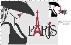 0 point de croix femme paris - cross stitch lady paris