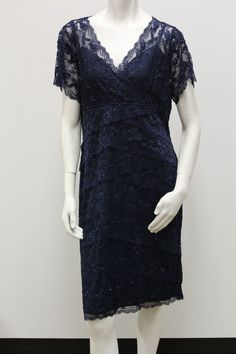 Marina Plus Size Beaded Cap Sleeve Lace Tiers Evening/Cocktail Dress