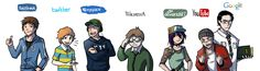"""Internet University Cast  by ~elontirien ©2009-2012 ... based on a sort of short story called """"Internet University,"""" where all the students and faculty are personified famous websites"""