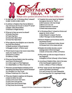 25 Ways to Spend your Christmas Holidays A Christmas Story Trivia. Love this movie! Watch it again and again on Christmas Eve :) Christmas Trivia Games, Printable Christmas Games, Christmas Activities, Christmas Traditions, Holiday Games, Xmas Games, Holiday Trivia, Christmas Games For Adults, Free Christmas Games