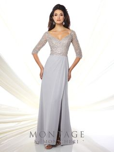 Montage by Mon Cheri - 116942 - Chiffon sheath with hand-beaded illusion three-quarter length sleeves, tip-of-the-shoulder V-neckline, beaded bodice with beaded illusion back, side draped skirt with side slit and sweep train.Sizes: 4 - 20, 16W - 26WColors: Silver, Champagne