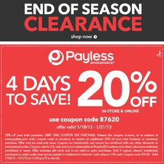 4 Days to Save! Get 20% off our end of season clearance online & in-store!