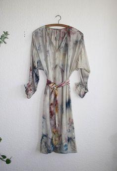 Milena Silvano - SATIN SMOCK DRESS - hand dyed ICED BERRY