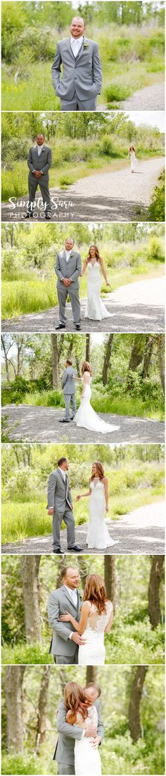 Wedding Photo Ideas & Poses - First Look for Bride & Groom - Grassy Field - Green Trees - Spring Wedding - Billings, MT Wedding Photographer