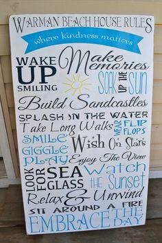beach house rules custom beach signs wood signs by DesignsOnSigns3, $125.00