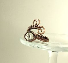 Copper ring rock crystal ring antiqued rustic by VeraNasfaJewelry