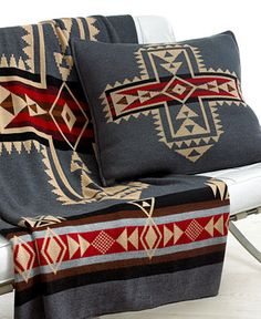 These are the perfect colors for my living room Southwest Decor, Southwest Style, Southwestern Chairs, Southwestern Blankets, Pendelton Blankets, Pendleton Wool, El Canton, Native American Decor, Camping Blanket