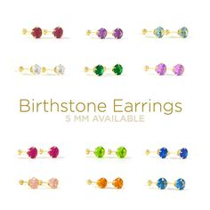 Gold Birthstone Earrings 3mm 5mm With Back Stud Newborn 10kt