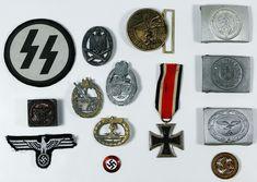 Lot World War II and Replica German Military Assortment Ancient Persia, World War Ii, Badges, Belt Buckles, Patches, German, Auction, Enamel, Copper
