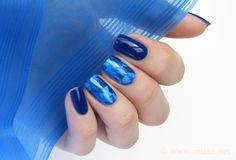Blue nail foil manicure - Maris Nail Polish Blog