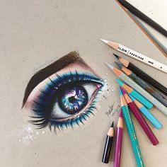 •Hello Everyone!🌿• • GUYS I ACTUALLY HAD ONE PIECE OF GRAY PAPER LEFT🙌 so i ruined it by making this ugly drawing rip :p loll my drawings have kinda been trash lately but here's another eye! i tried to make it galaxy ish? hope you like this drawinggg!🌌 •