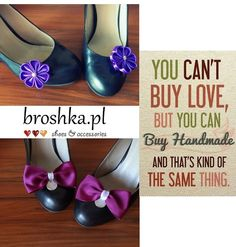 handmade for shoes pink and violet clips made by broshka.pl Poland