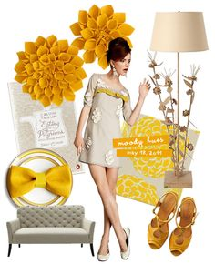 Neat way to incorporate home decor and fashion trends together. #fashion #trends #grayandyellow