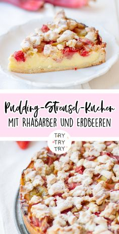 Ice Cream Recipes 18344 Pudding crumble cake with rhubarb and strawberries / cake / Sunday cake Dessert Recipes For Kids, Dessert Cake Recipes, Easy Cake Recipes, Healthy Dessert Recipes, Desserts Keto, Easy Strawberry Desserts, Quick Easy Desserts, Easy Vanilla Cake Recipe, Food Cakes