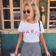 Paris Tshirt Letter Printed Blogger Style - pandorafashion.co... #laurajadestone #laurajade #bloggers #fashion #harajuku #celebrities #teen #graphictee #custom