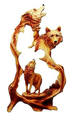 """Custom & Unique {12.5"""" x 7"""" Inch} 1 Single Large, Home & Garden """"Standing"""" Figurine Decoration Made of Grade A Resin w/ Rustic Country Wolf Pack Howling Style {Black & Brown}"""