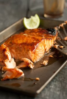 1 salmon fillet about 500g;  1 T miso paste;  1 T soy sauce;  2 T honey;  1 T mirin;  lime wedges to garnish and spritz the fish